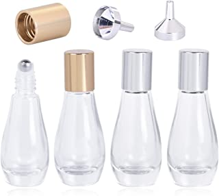 Roller Bottles, 0.33oz / 10ml Empty Refillable Glass Roller Bottles with Gold and Sliver Cap Perfect for Aromatherapy Perfumes Essential Oils Lip Gloss, Comes with 2 Sliver Funnels, Pack of 4