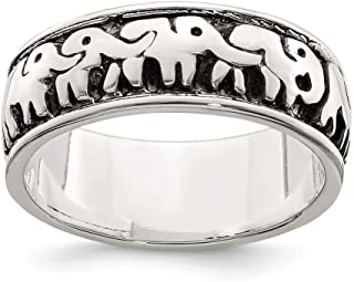 925 Sterling Silver Elephants Band Ring Animal Fine Jewelry For Women