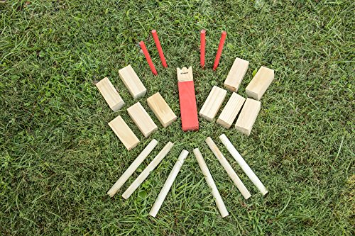 Triumph Premium Kubb Set - Includes 10 Kubb Blocks, 6 Tossing Dowels, 1 King Kubb 4 Corner Pegs