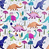 Colors of Rainbow - Dino Party - Gift Wrap Paper, 2.5 Feet x 10 Feet, Folded Flat, Not Rolled - Dino Party