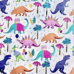 1. Colors of Rainbow Dino Party Gift Wrap Paper
