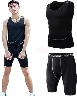 Mens Workout Set Two Pieces Compression Suit Sport Sets Sportswear Men Tracksuit