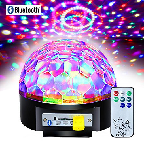 Besmall 9W Proiettore a Sfera Palla Girevole LED RGB Stroboscopica Bluetooth Palco Discoteca DJ Crystal Stage Magic Ball Con Port USB Scheda SD per Musica MP3