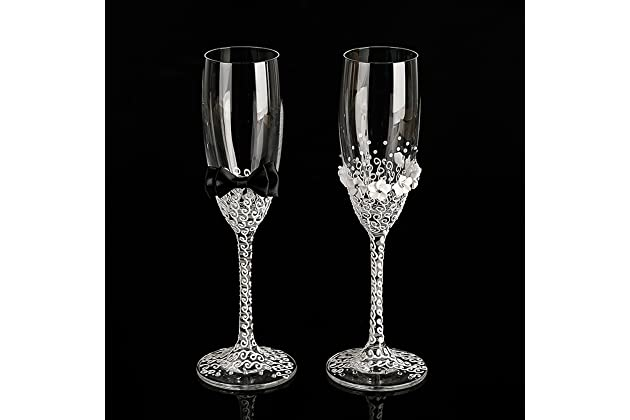 1555950dee His and Hers wedding glasses set handmade bride and groom flutes