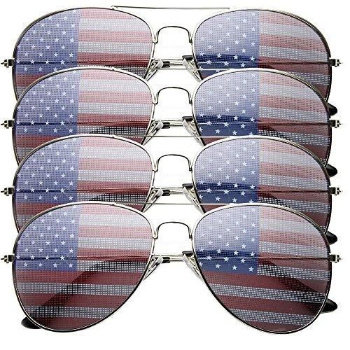 4 PACK Mens Bulk USA American Flag Aviator Sunglasses