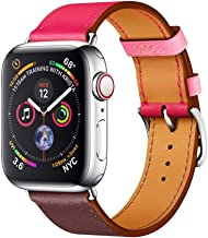 EloBeth Watch Bands Compatible with Apple Watch Band 44mm 42mm Series 5 4 3 2 1 Men Women Leather Replacement iWatch Wristband (42mm/44mm Pink/Brown)