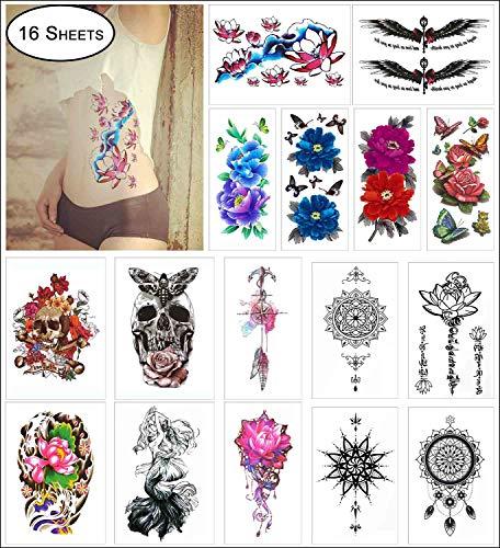COKOHAPPY 16 Sheets Large Temporary Tattoo for Girl Women Arm Shoulder Flower, Lotus, Dream Catcher, Mandala, Butterfly, Mermaid, Tribal Symbols