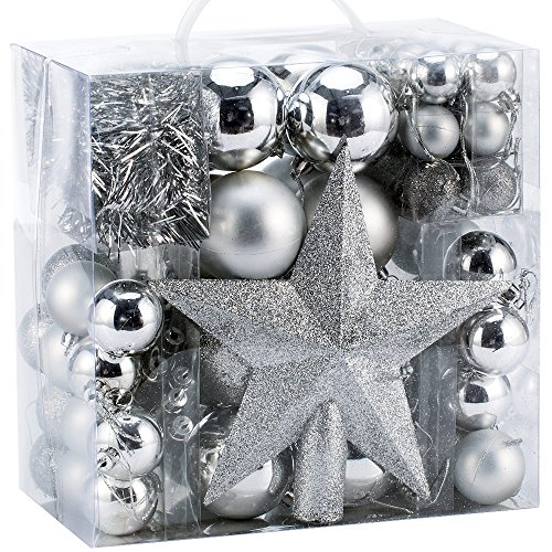 Deuba Palle di Natale 77 Pezzi Palline Natalizie Decorazioni Natale Palle Albero di Natale Decorazione Natalizia Argento