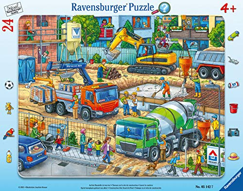 Ravensburger Puzzle 05142 Ravensburger Kinderpuzzle 05142-Auf der Baustelle ist was los 24 Teile Rahmenpuzzle-Puzzle für Kinder ab 4 Jahren-mit Search and Find, Teal/Turquoise Green