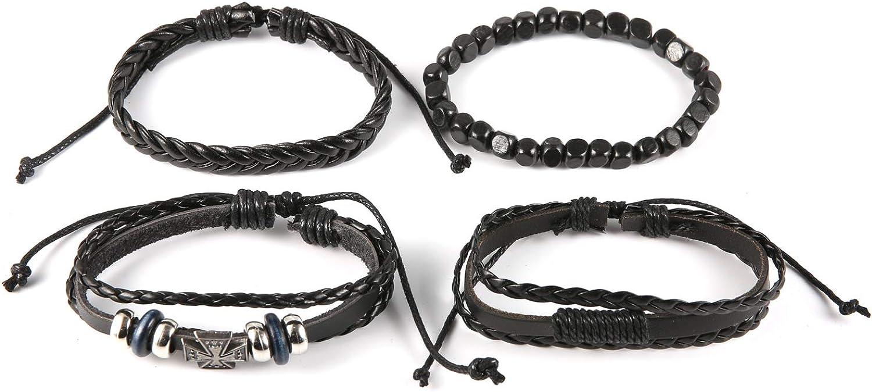 OMAI Mixed 4 Pack Bracelet Woven Leather Bracelet Men and Women Cool Wrist Cuff Bracelet Adjustable Bracelet