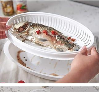 FBGood - Recipiente de Pescado para cocción al Vapor, Olla a Vapor para cocinar Pescado en el Horno microondas