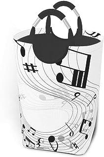 Panier à linge Notes de musique vintage Grand panier à linge sale pliable Grand sac de rangement en tissu Paniers de range...