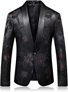 2b41fe189be3b Fashion Mens Printed Prom Blazer Black Floral Stage Wear Blazers Jacket