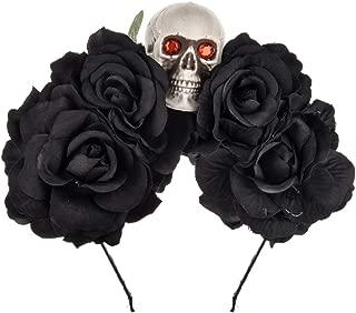 DDazzling Halloween Skull Rose Flower Headband Hair Hoop Cosplay Day of the Dead Hairband Accessory