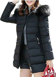 maweisong 女性暖かいフードロングコートフェイクファーダウンパーカーアウトドアジャケット