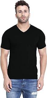 CHKOKKO Men's Cotton V Neck Regular Fit Half Sleeves T-Shirt