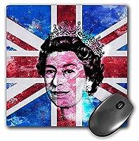 3dRose Mouse Pad Queen Elisabeth of England Portrait on British Union Jack Flag, 8 x 8' (mp_268392_1) [並行輸入品]