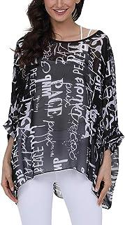 Plus Size Summer Tunics Blouses for Women Batwing Loose Chiffon Shirts Tops