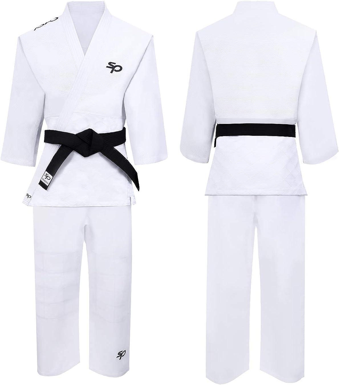 Starpro Kimono Judo de algódon Premium SIN cinturón - Judogi Profesional para Entrenamiento y competición- Hombres Mujeres Niños- 110-190 cm - Blanco y Azul