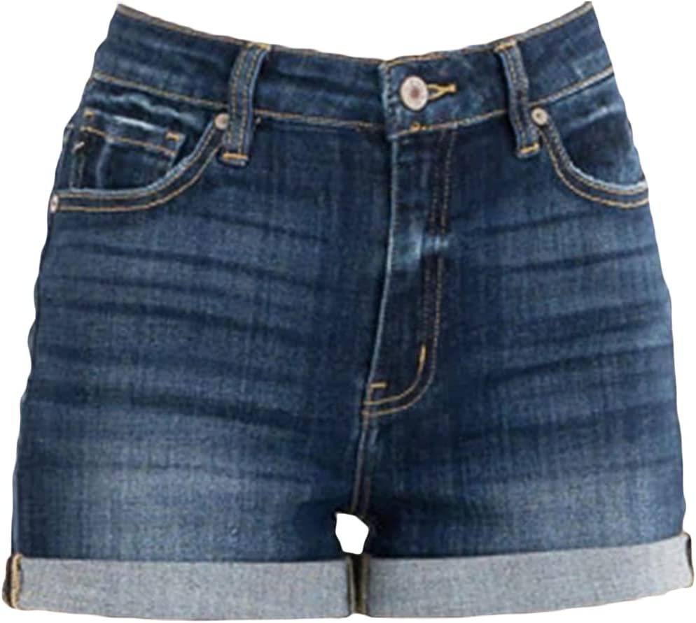 Womens Cuffed Straight Denim Shorts Classic Casual Rolled Hem Stretch Jean Shorts Summer Folded Washed Short Jeans (Navy Blue,Small)