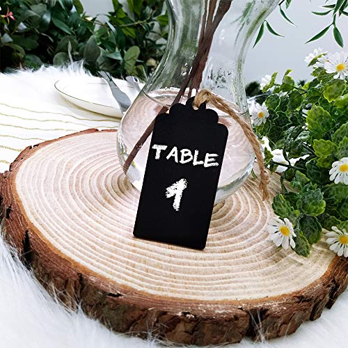 Supla 20 Pcs Chalkboard Tags Hanging Chalkboard Tags Chalkboard Name Tags Wooden Chalkboard Tags Rectangle Chalkboard Tags Black Chalkboard Tags Chalkboard Favor Tag with String for Wedding Party Photo #6