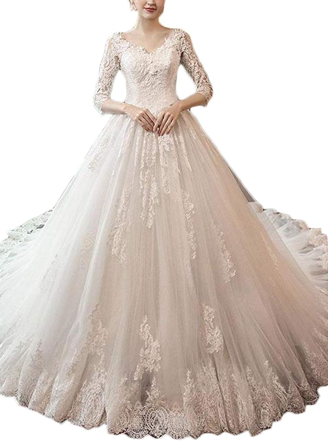 Alilith.Z Elegant V Neck Lace Wedding Dresses for Bride 2019 Ball Gown 3 4 Sleeves Cathedral Bridal Wedding Gowns
