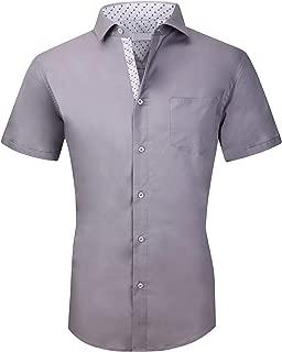 Mens Short Sleeve Dress Shirts Regular Fit Casual Button Down Shirts