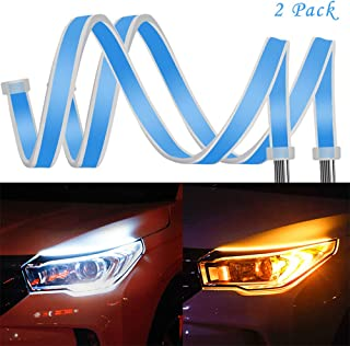 2Pcs 23 Inches/60cm Headlight LED Strip Tube Flexible Daytime Running Lights DRL Switchback Headlight Decorative Lamp and Flowing Turn Signal Light Color White/Yellow