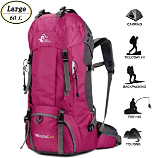 60L Waterproof Lightweight Hiking Backpack with Rain Cover,Outdoor Sport Travel Daypack for Climbing Camping Touring