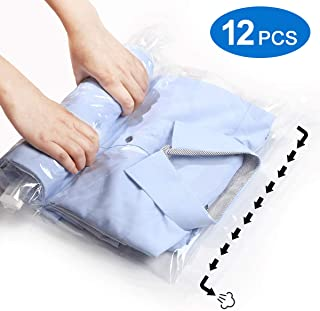 VacPack 12 Travel Compression Bags - No Vacuum or Pump Needed - Roll-Up Space Saver Storage Bags for Travel - Save Space in Your Luggage Accessories - Set of 6 L and 6 M Sacks