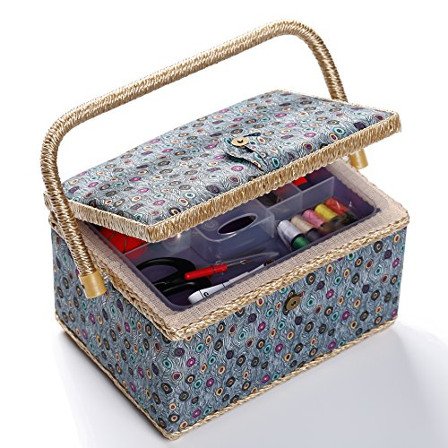 bbloop Medium Vintage Sewing Basket with Notions Package - Blue Peacock Style