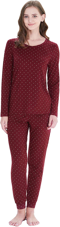 Pajama Sets for Women Soft Long Sleeve Crew Neck Sleepwear Dots Print Nightwear Pjs Lounge Set S-XXL