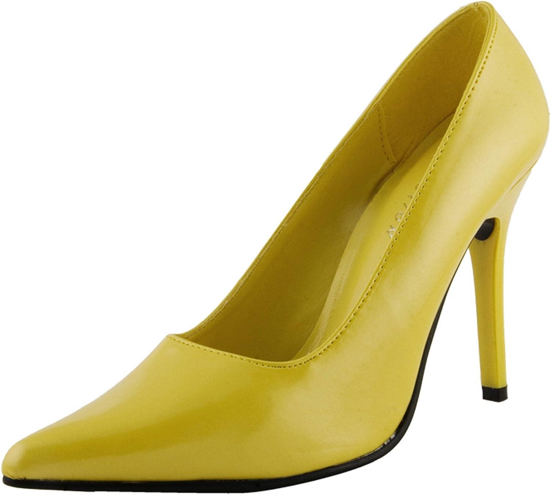 The Highest Heel Women's CLASSIC Yellow Patent PU Pump 8 B(M) US