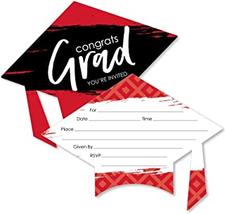 Red Grad - Best is Yet to Come - Shaped Fill-in Invitations - Red Graduation Party Invitation Cards with Envelopes - Set of 12