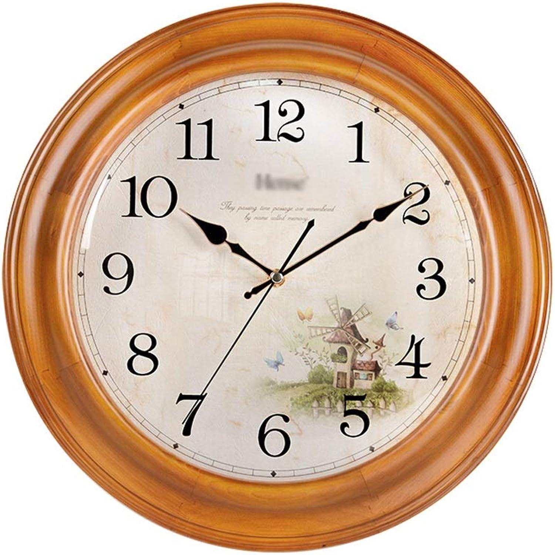YONGMEI Wall Clock - Creative Living Room Solid Wood Wall Clock European Mute Clock Garden Retro Art Wall Hanging Table Decoration Quartz Clock (color   Beige, Size   35CM)