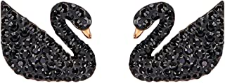 ICONIC SWAN black perforated earrings, made from Swarovski diamonds