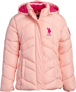 U.S. Polo Assn. Girls Puffer Bomber Jacket with Full Polar Fleece Lining and Removable Fur Trim