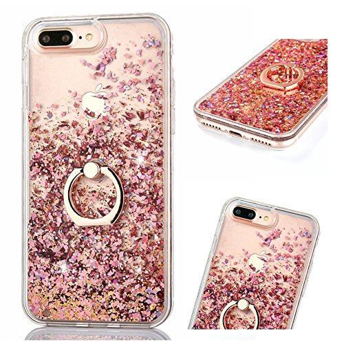 ZCRO (Nicht Für 8/7) Flüssig Hülle für iPhone 8 Plus / iPhone 7 Plus, Handyhülle Case Schutz Hüllen Glitzer Flüssig Cover Transparent Silikon Durchsichtig mit Handy Ring Halterung Ständer (Rose Gold)