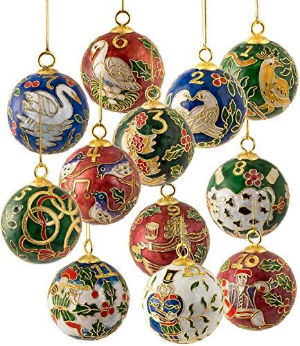 Value Arts Christmas Ornaments/Handmade Cloisonne Twelve Days of Christmas