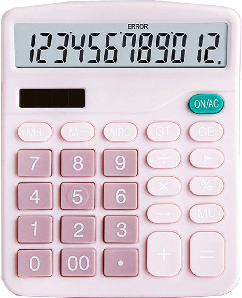 YOUHO Calculator, 12-bit Solar Battery Dual Power Standard Function Electronic Calculator with Large LCD Display Office Calculator Black(ONE Battery) (KK-837B, 1PACK,Pink)