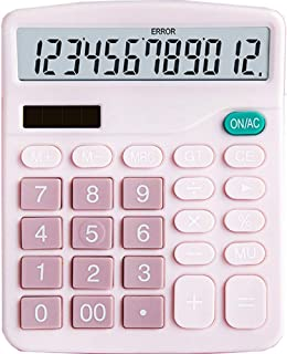 HZFJ Calculator, 12-bit Solar Battery Dual Power Standard Function Electronic Calculator with Large LCD Display Office Cal...