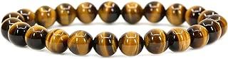 Amandastone Handmade Gem Semi Precious Gemstone 8mm Round Beads Stretch Bracelet 7