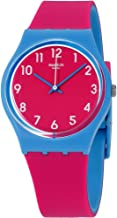Swatch Women's Blue Lampone Quartz Watch with Silicone Strap, Pink, 15 (Model: GS145)