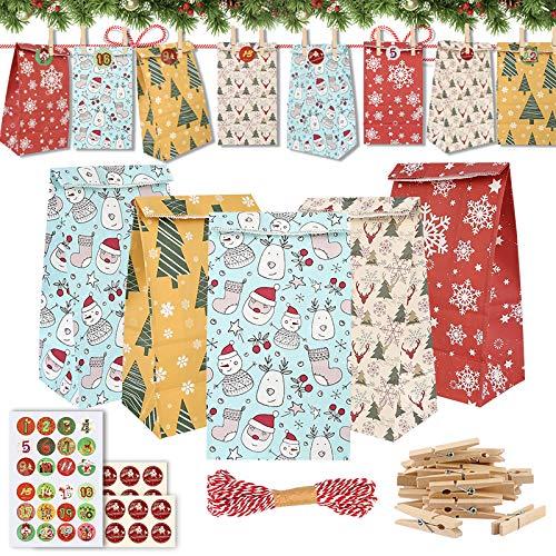 Sylanda 24pcs Adventskalender zum Befüllen, Papiertüten Weihnachten Geschenktüten mit 1-24 Aufkleber-Zahlen, Aufkleber, Weihnachtsanhänger, Jute Hanfseile, Advents Tüten für Weihnachts Geschenk