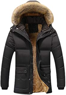 Mens Casual Long Sleeve Thicken Warm Contrast Patch Coat Fleece Hooded Jacket