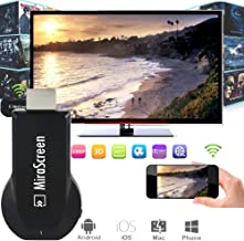 HDMI Wireless mirascreen Display Receiver WiFi 4K 1080P Mobile Screen Cast Mirroring Adapter Connector for iOS/Android/Windows/Projector/TV/MAC OSX Display Wireless HDMI Adapter TTV Box (Black)