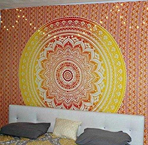 QuanCheng Indian Mandala Wall Hanging Tapestry Ombre Tapestry Hippie Bohemian Orange Red Mandala Wall Hanging Tapestry Aesthetic Tapestry Psychedelic Trippy Tapestry for Bedroom Home Decor.59x59Inch