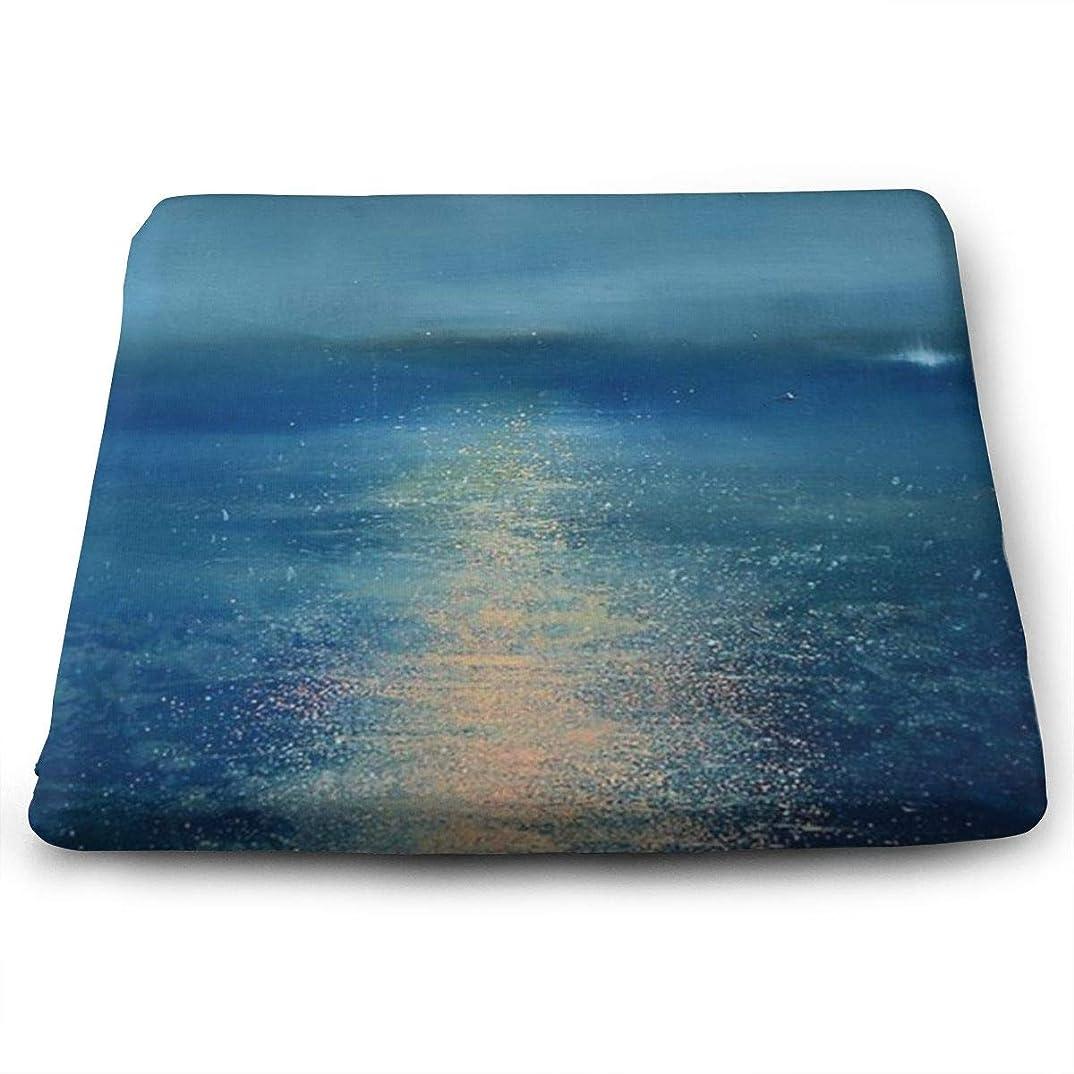 あからさまビジュアルうなずくWatercolor Painting Sea TOSHIMURA 座布団 高低反発コンビ クッション イス 椅子用 かわいい おしゃれ スクエア 四角 滑り止め付き 座り心地抜群 オフィス