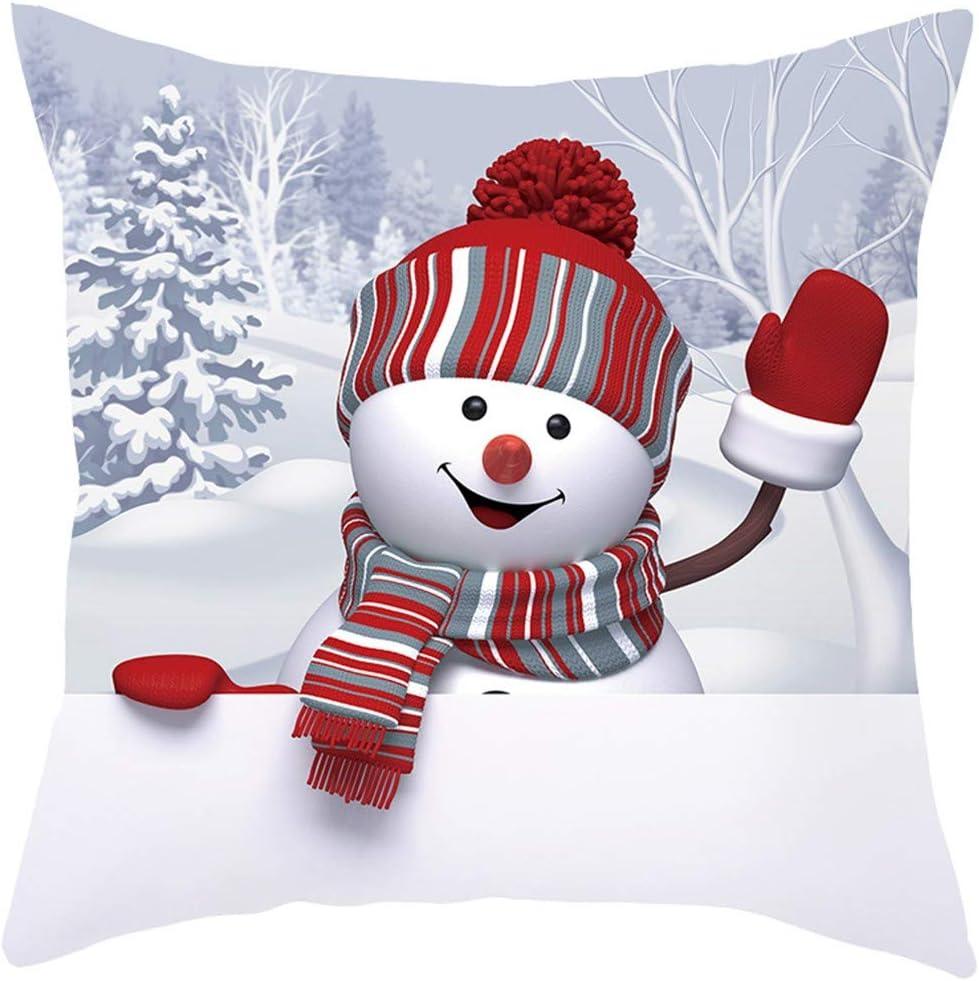Amazon Com Staron Christmas Throw Pillow Cover 3d Snowman Pillows Holiday Theme Sofa Decor Couch Pillow Covers Pillowcase Cushion Cover Case Decorative Pillows E Garden Outdoor