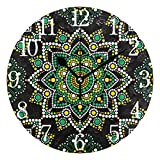 AABAO Reloj de pared redondo con diseño de mandala bohemio,